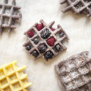 Waffles with blackcurrant powder